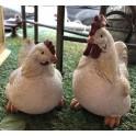 Poule et coq en résine
